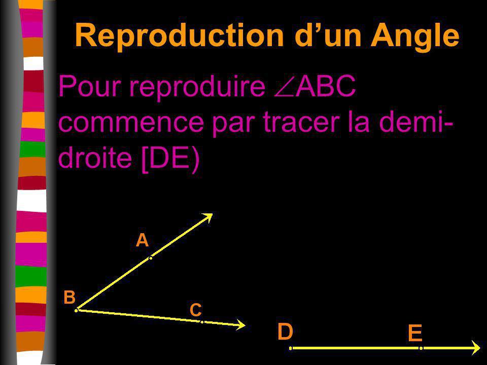 Reproduction dun Angle Pour reproduire ABC commence par tracer la demi- droite [DE)