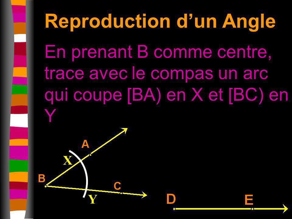 Reproduction dun Angle En prenant B comme centre, trace avec le compas un arc qui coupe [BA) en X et [BC) en Y X Y