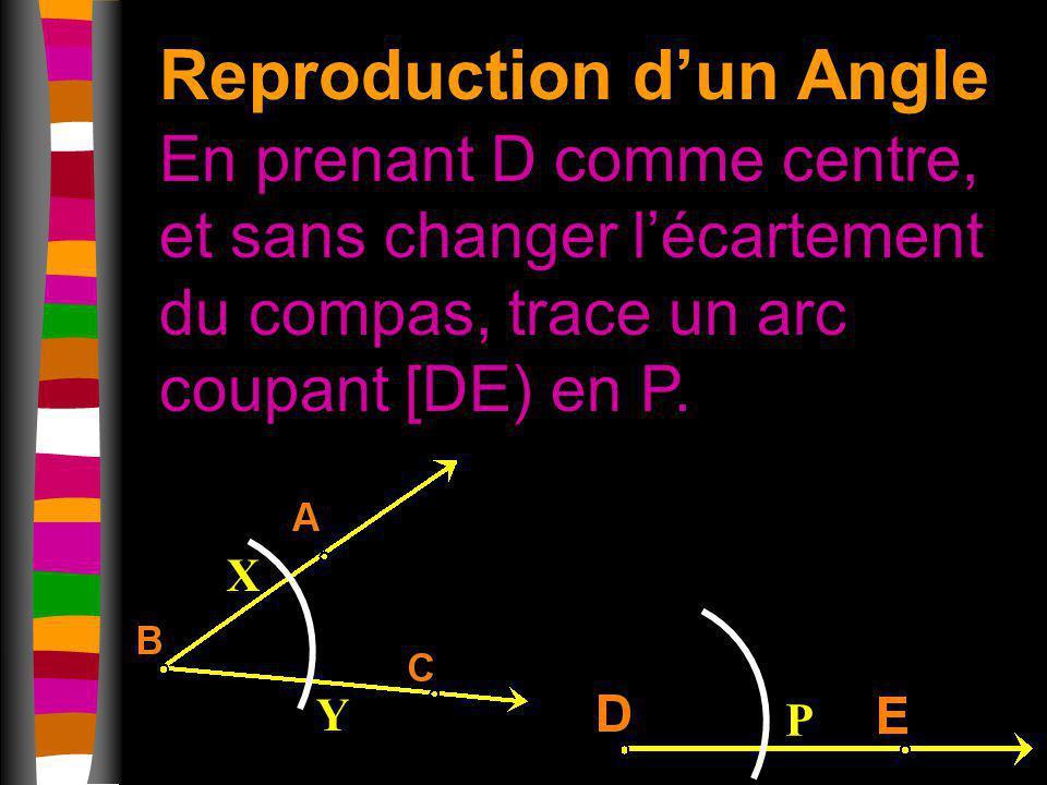 Reproduction dun Angle En prenant D comme centre, et sans changer lécartement du compas, trace un arc coupant [DE) en P. X Y P