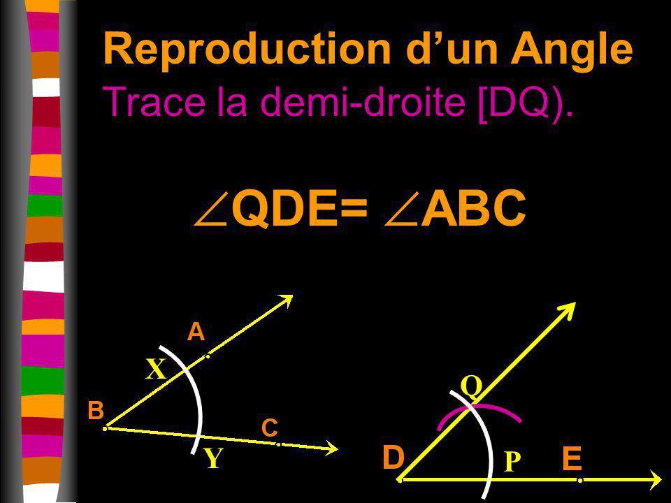 Reproduction dun Angle Trace la demi-droite [DQ). X Y P Q QDE= ABC