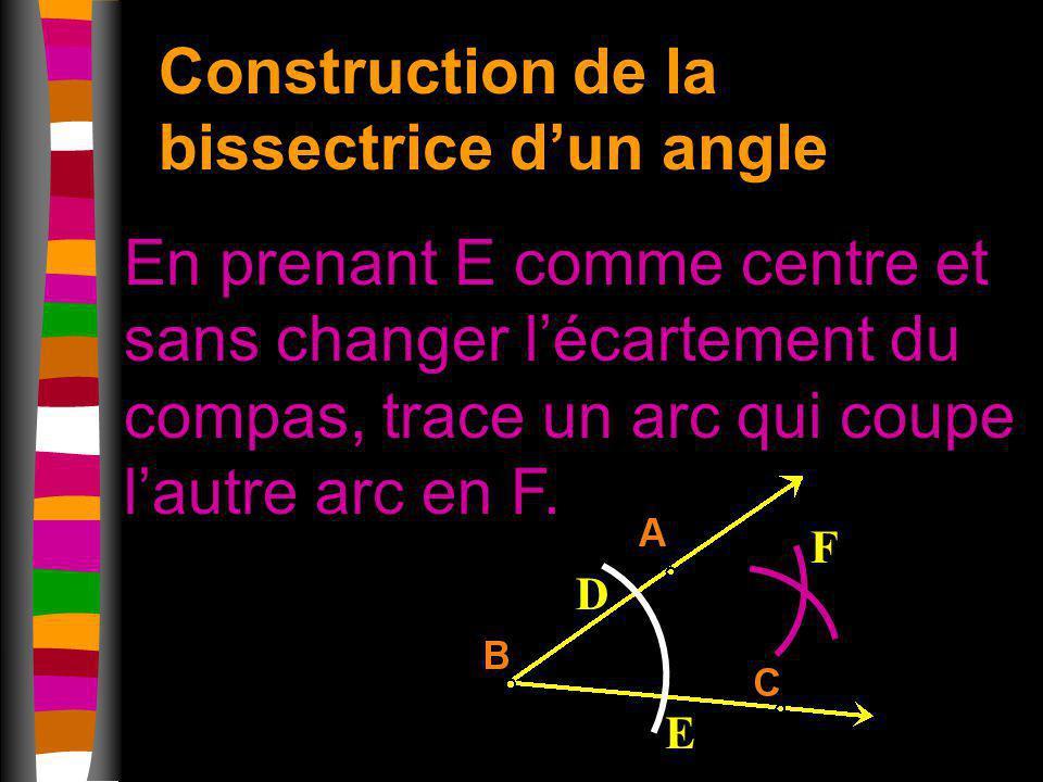 Construction de la bissectrice dun angle En prenant E comme centre et sans changer lécartement du compas, trace un arc qui coupe lautre arc en F. D E