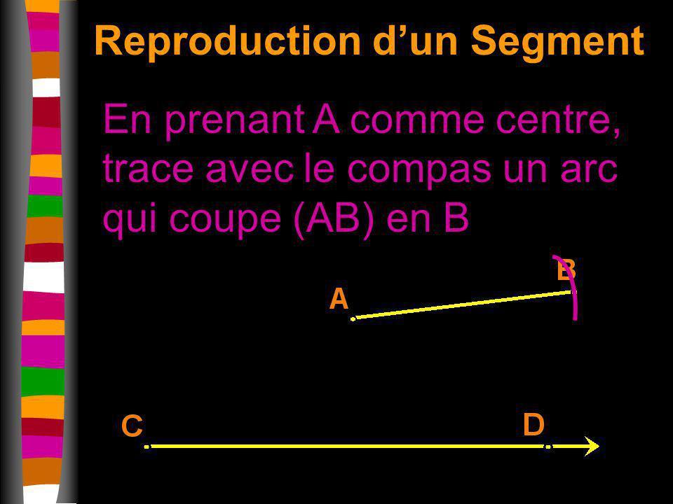 En prenant A comme centre, trace avec le compas un arc qui coupe (AB) en B Reproduction dun Segment