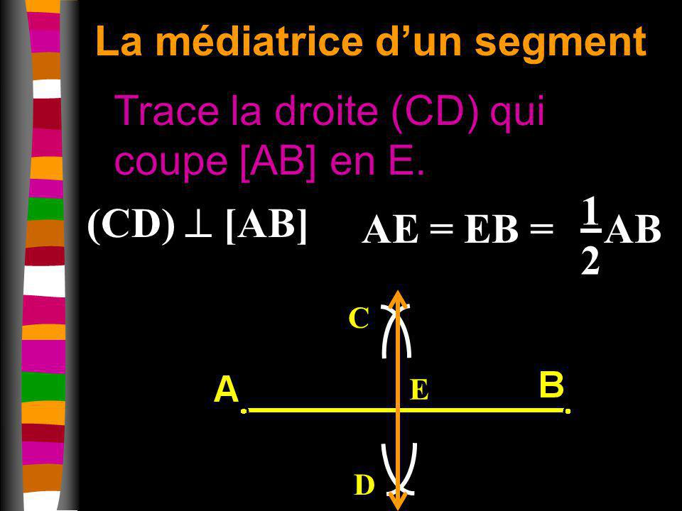 La médiatrice dun segment Trace la droite (CD) qui coupe [AB] en E. C D E (CD) [AB] AE = EB = AB 1212