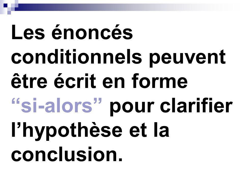 Hypothèse (p) La phrase commençant par si le donné cest ce que lon suppose lensemble des conditions données
