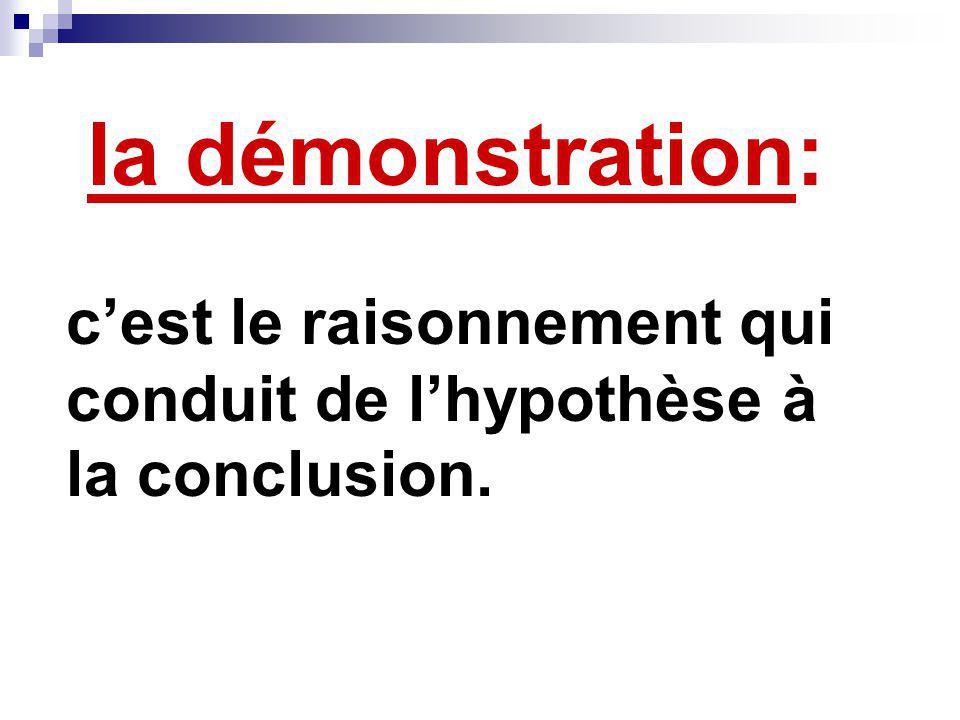 la démonstration: cest le raisonnement qui conduit de lhypothèse à la conclusion.