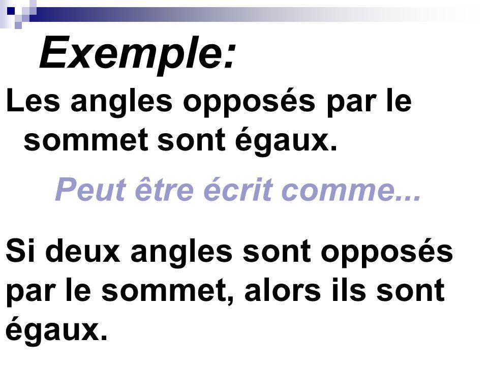 Exemple: Les angles opposés par le sommet sont égaux. Si deux angles sont opposés par le sommet, alors ils sont égaux. Peut être écrit comme...