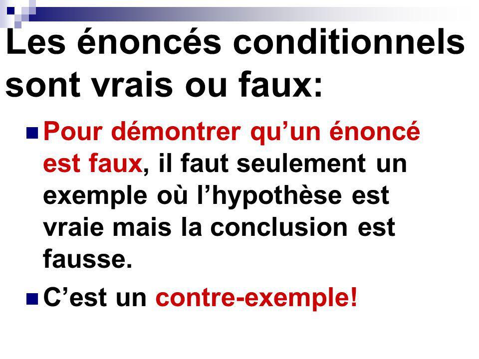 Trouver un Contre-exemple Donc ( ) lénoncé est faux.