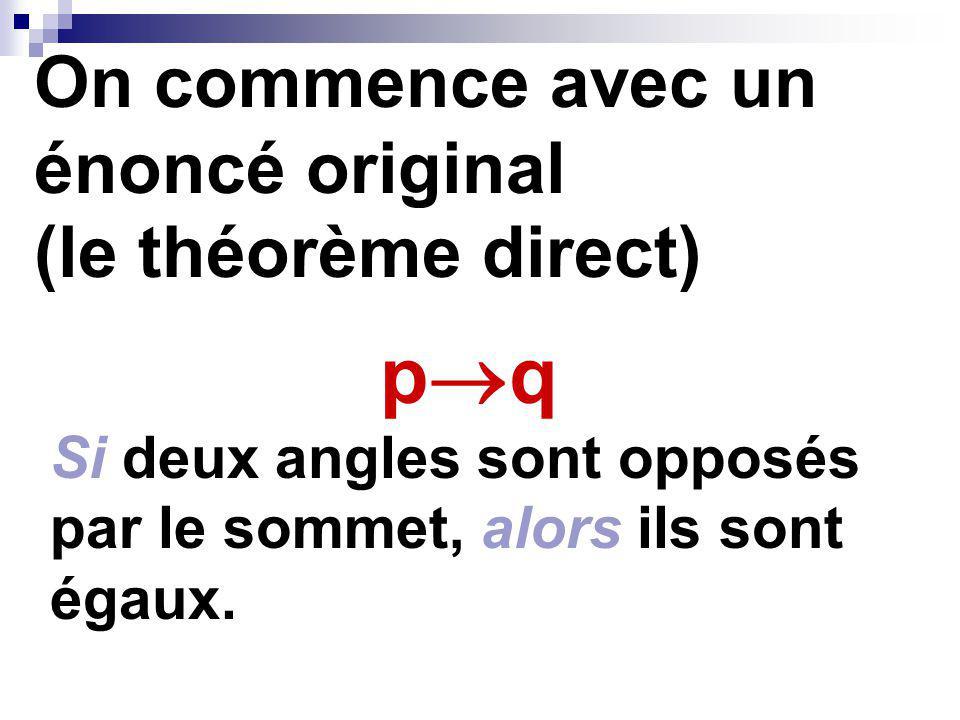 On commence avec un énoncé original (le théorème direct) p q Si deux angles sont opposés par le sommet, alors ils sont égaux.