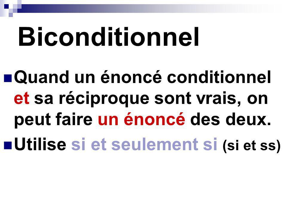 Biconditionnel Quand un énoncé conditionnel et sa réciproque sont vrais, on peut faire un énoncé des deux. Utilise si et seulement si (si et ss)