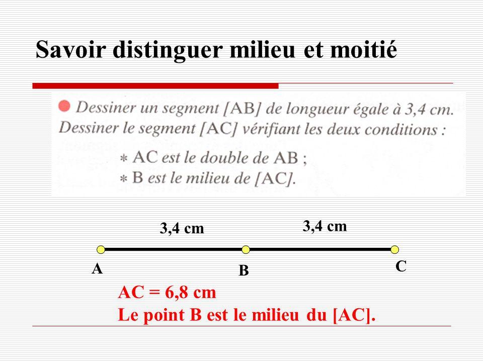 A B 3,4 cm C AC = 6,8 cm Le point B est le milieu du [AC].
