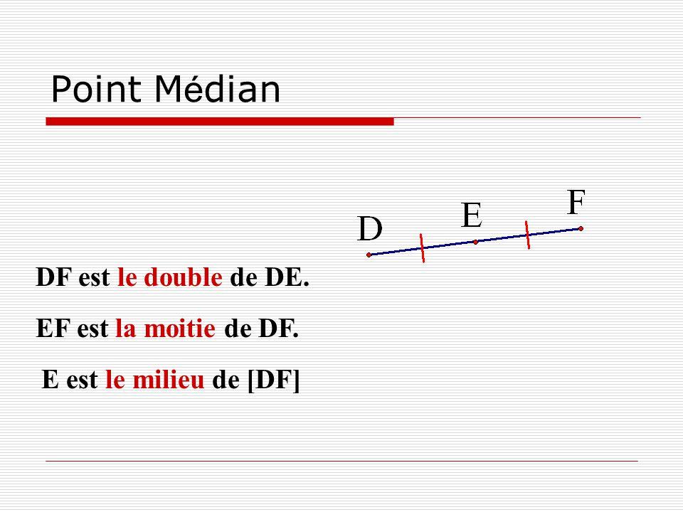 Point M é dian DF est le double de DE. E est le milieu de [DF] EF est la moitie de DF.