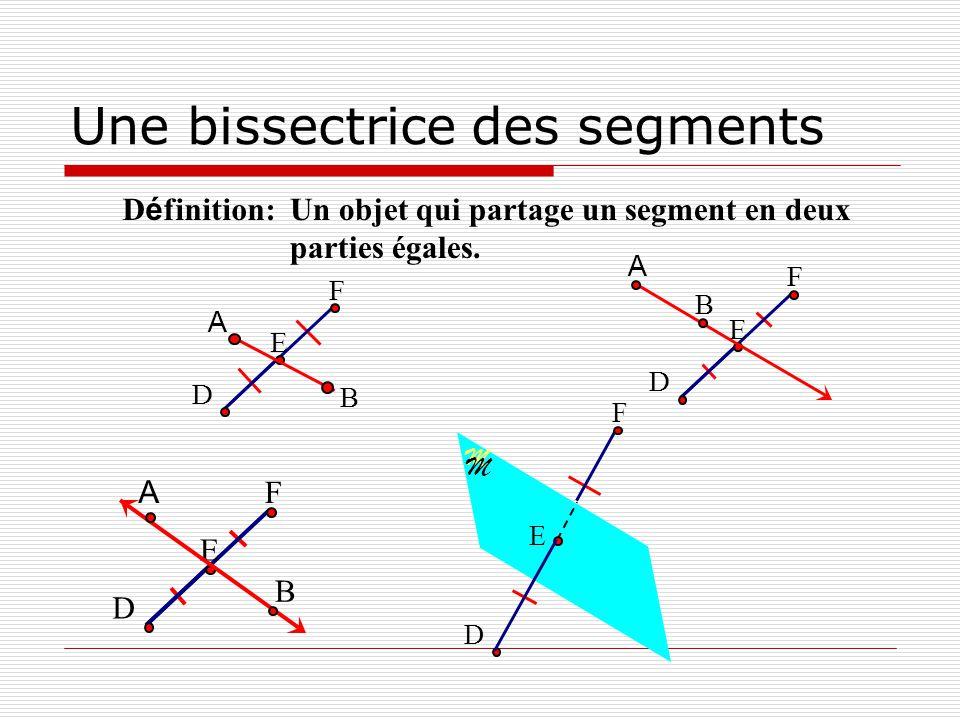 M M Une bissectrice des segments Un objet qui partage un segment en deux parties égales. D é finition: E D F B A E D F B A E D F A B E D F