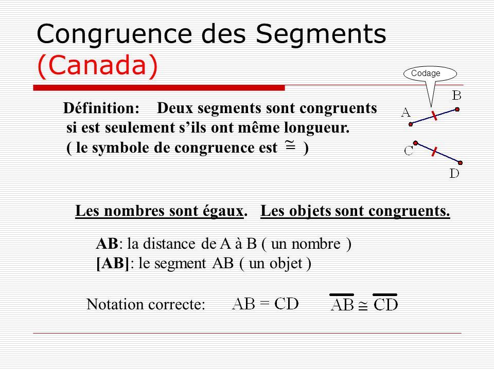 Congruence des Segments (Canada) Définition: Deux segments sont congruents si est seulement sils ont même longueur. ( le symbole de congruence est = )