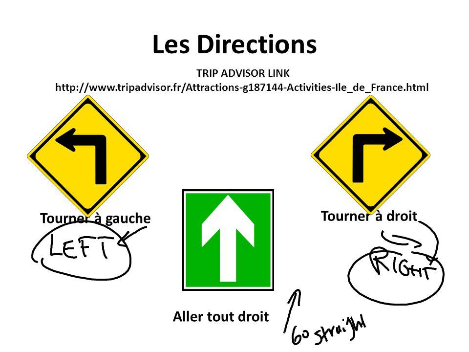 Les Directions Aller tout droit Tourner à gauche Tourner à droit TRIP ADVISOR LINK http://www.tripadvisor.fr/Attractions-g187144-Activities-Ile_de_Fra