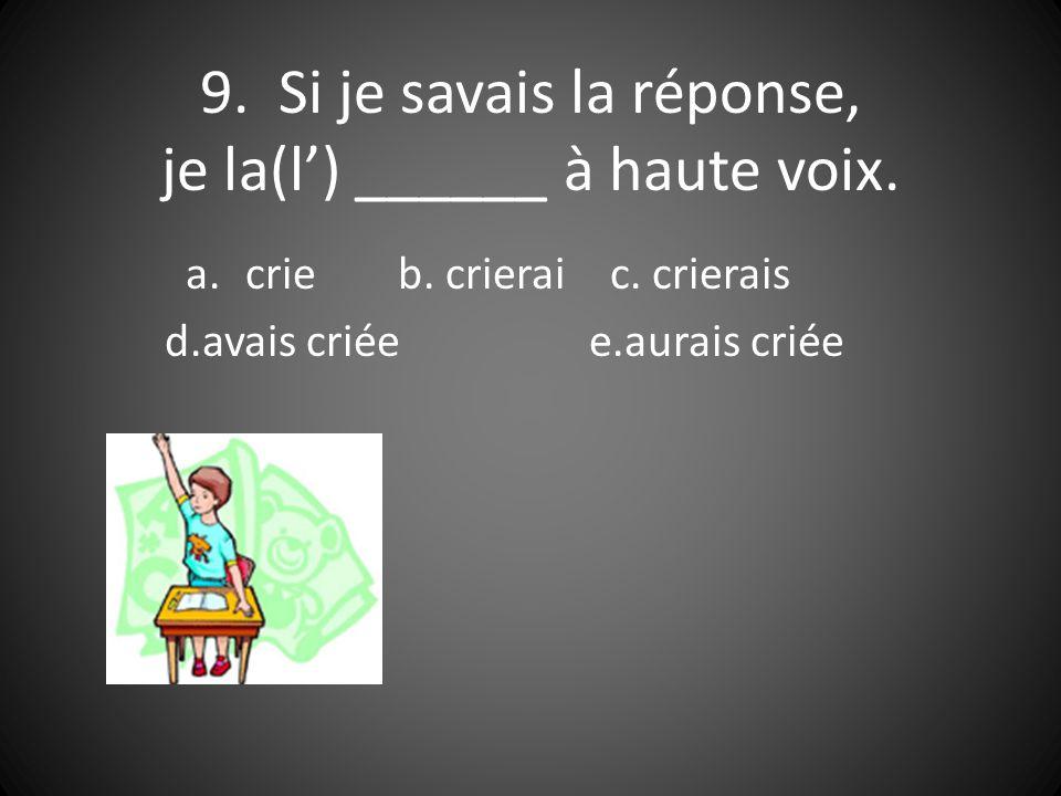 9. Si je savais la réponse, je la(l) ______ à haute voix.