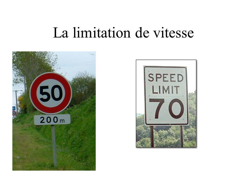 La limitation de vitesse