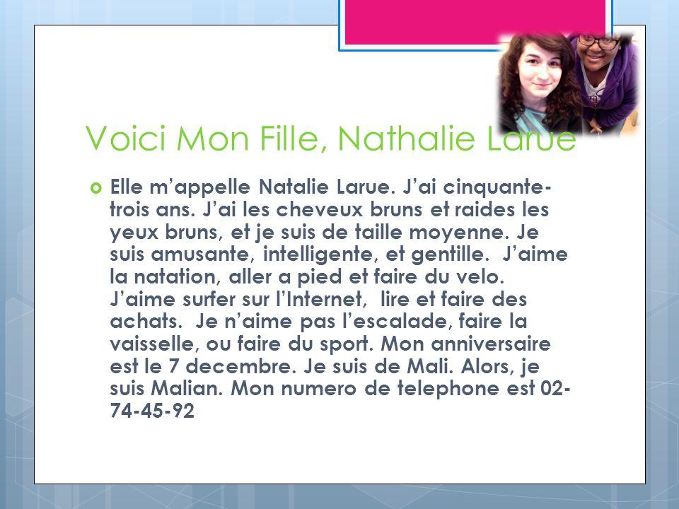 Voici Mon Fille, Nathalie Larue Elle mappelle Natalie Larue.