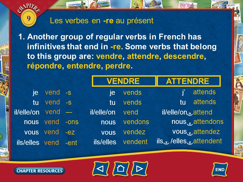 9 Les verbes en -re au présent 1.Another group of regular verbs in French has infinitives that end in -re. Some verbs that belong to this group are: v