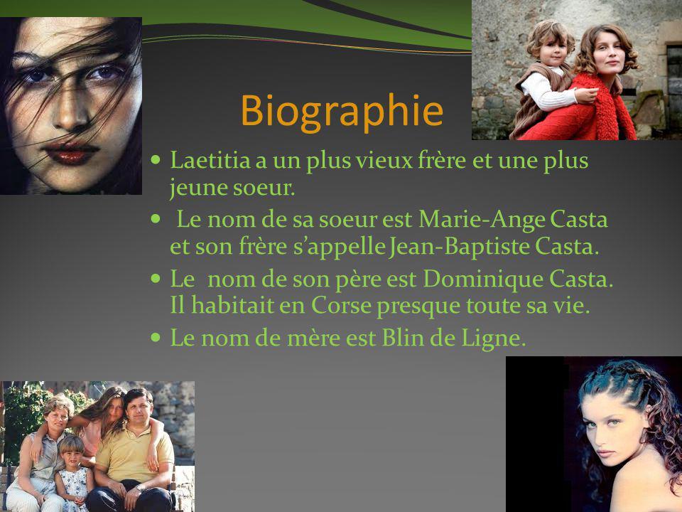 Biographie Laetitia a un plus vieux frère et une plus jeune soeur. Le nom de sa soeur est Marie-Ange Casta et son frère sappelle Jean-Baptiste Casta.
