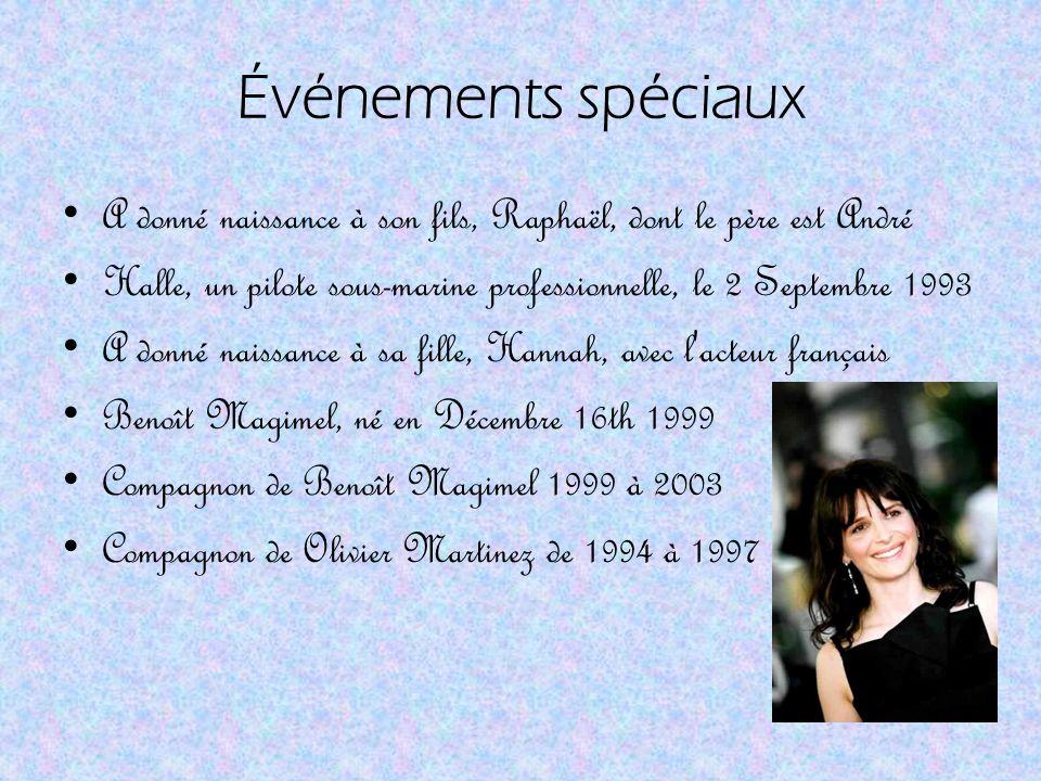 Faits Elle est l une des actrices françaises les plus célèbres dans les années passées, Binoche a été une partie de plus de quarante films français et américains.
