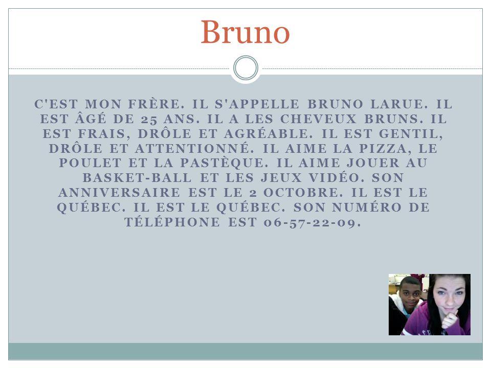 Bruno C'EST MON FRÈRE. IL S'APPELLE BRUNO LARUE. IL EST ÂGÉ DE 25 ANS. IL A LES CHEVEUX BRUNS. IL EST FRAIS, DRÔLE ET AGRÉABLE. IL EST GENTIL, DRÔLE E