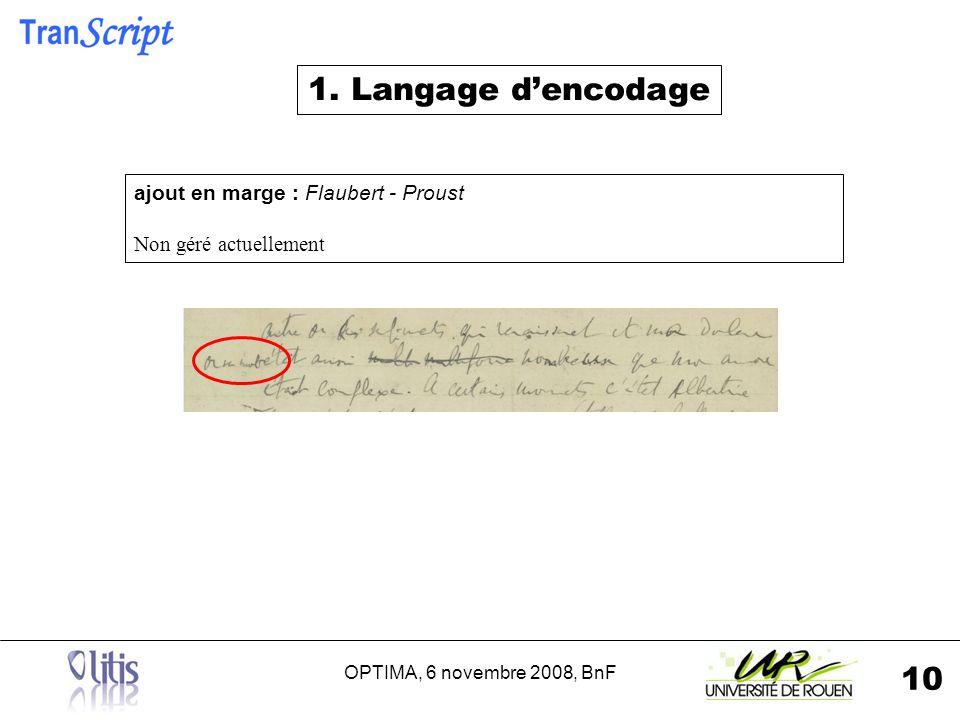 OPTIMA, 6 novembre 2008, BnF 10 ajout en marge : Flaubert - Proust Non géré actuellement 1.
