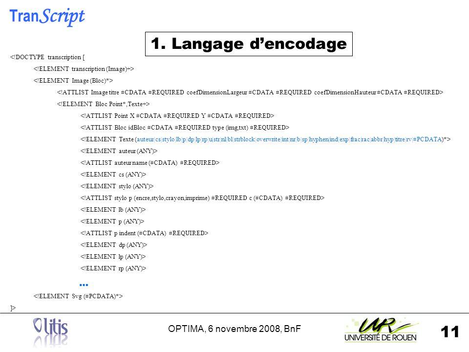 OPTIMA, 6 novembre 2008, BnF 11 1. Langage dencodage <!DOCTYPE transcription [ … ]>