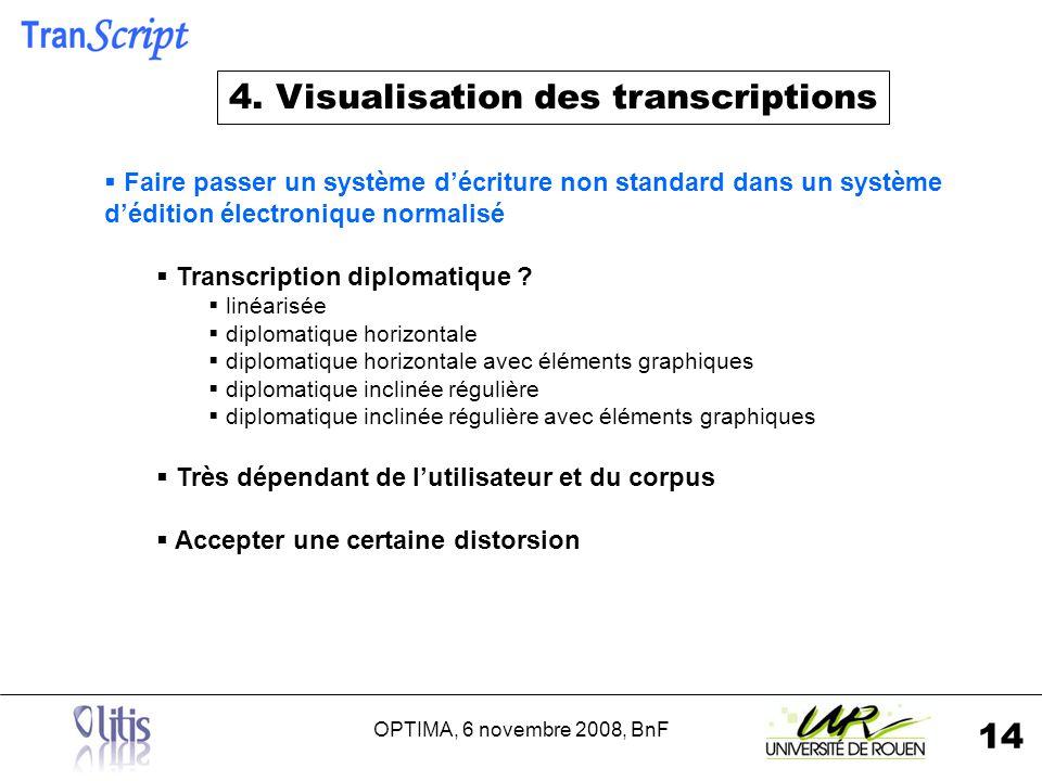 OPTIMA, 6 novembre 2008, BnF 14 Faire passer un système décriture non standard dans un système dédition électronique normalisé Transcription diplomatique .