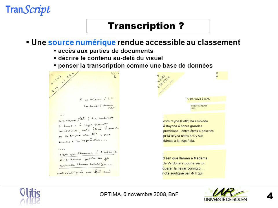 OPTIMA, 6 novembre 2008, BnF 5 1- Un langage pour décrire les contenus textuels et graphiques 2- Une interface daide à lencodage 3- Visualisation des images Haute Définition 4- Visualisation des transcriptions (diplomatique?) Expression des besoins