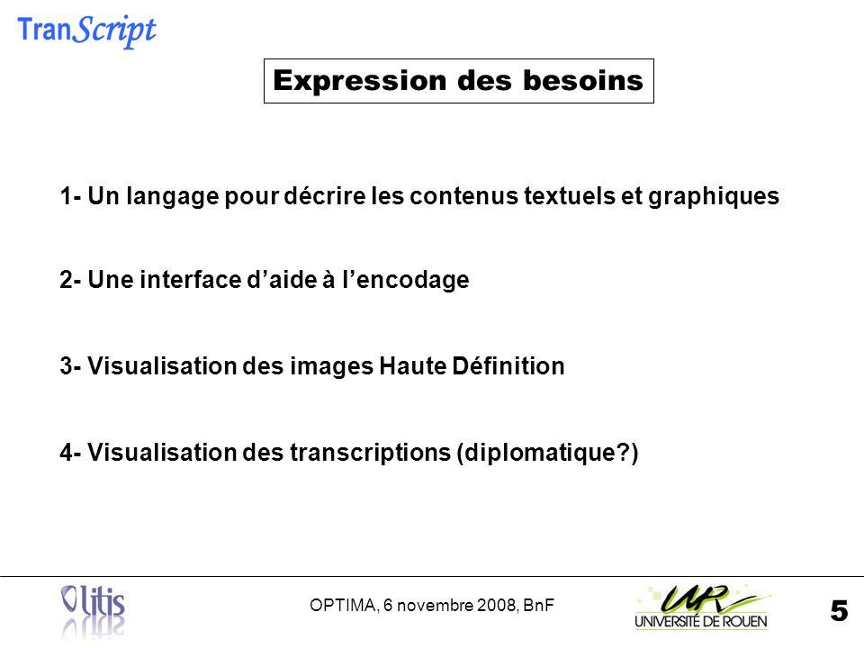 OPTIMA, 6 novembre 2008, BnF 5 1- Un langage pour décrire les contenus textuels et graphiques 2- Une interface daide à lencodage 3- Visualisation des images Haute Définition 4- Visualisation des transcriptions (diplomatique ) Expression des besoins
