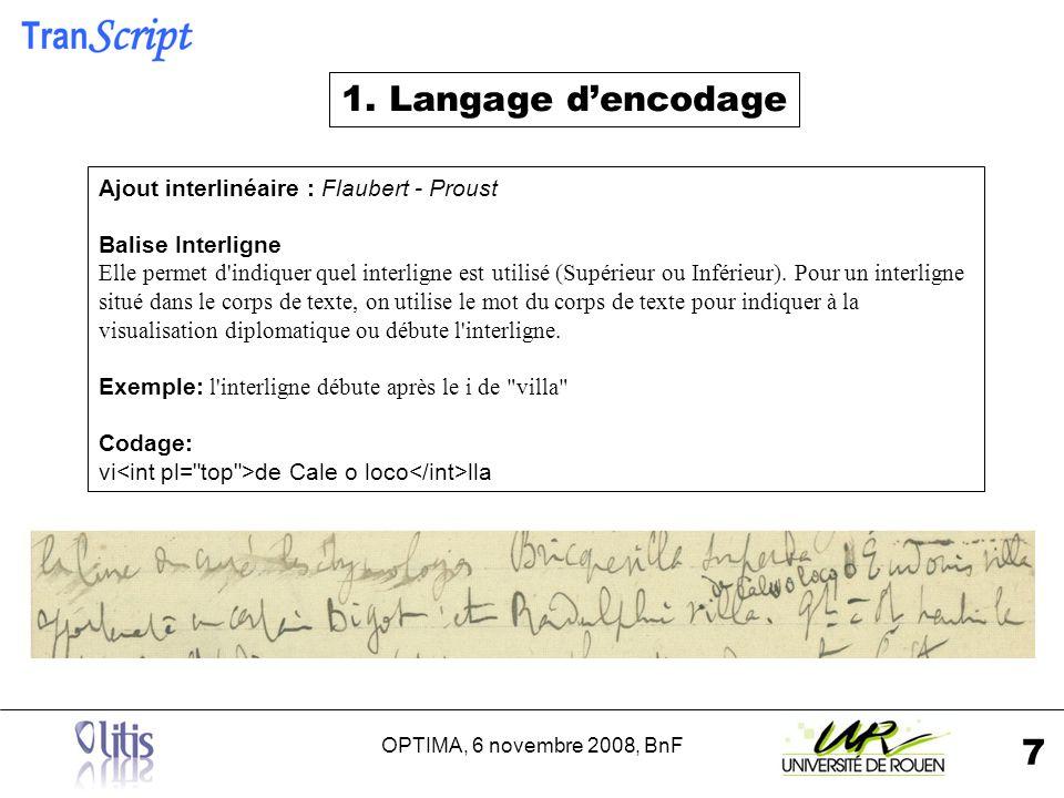 OPTIMA, 6 novembre 2008, BnF 8 bloc de texte : Proust Balise Bloc On utilise le type bloc de texte pour délimiter les blocs composant le document.