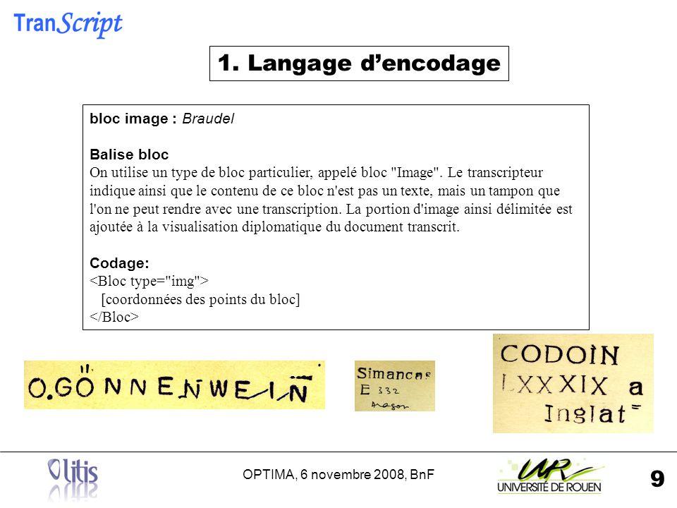 OPTIMA, 6 novembre 2008, BnF 9 bloc image : Braudel Balise bloc On utilise un type de bloc particulier, appelé bloc Image .