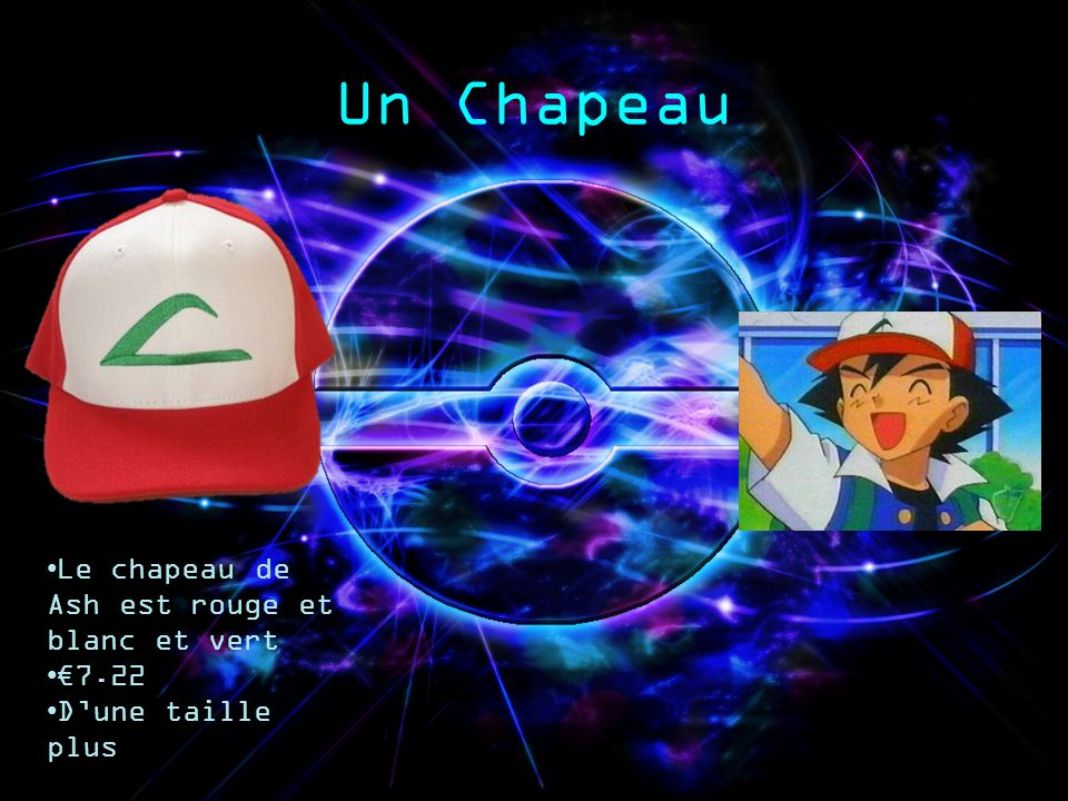 Un Chapeau Le chapeau de Ash est rouge et blanc et vert 7.22 Dune taille plus