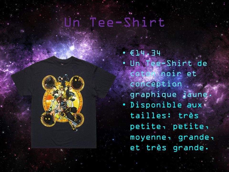 Un Tee-Shirt 14.34 Un Tee-Shirt de coton noir et conception graphique jaune. Disponible aux tailles: très petite, petite, moyenne, grande, et très gra
