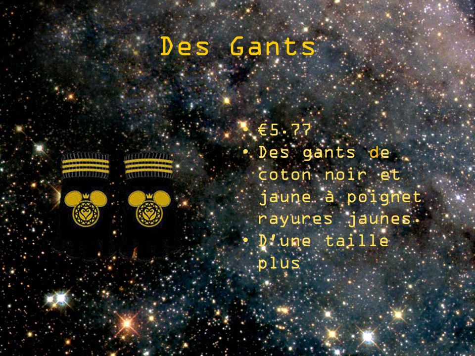 Des Gants 5.77 Des gants de coton noir et jaune à poignet rayures jaunes. D'une taille plus