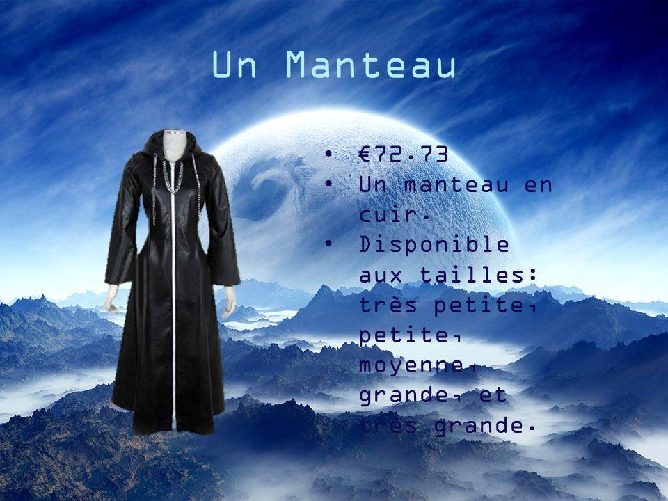 Un Manteau 72.73 Un manteau en cuir. Disponible aux tailles: très petite, petite, moyenne, grande, et très grande.