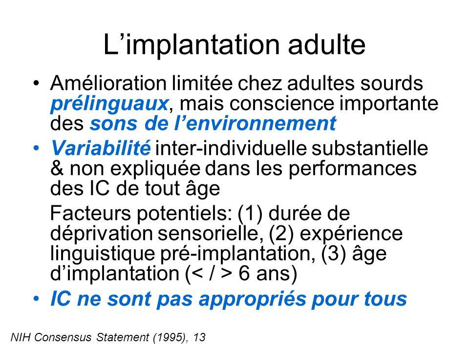 Limplantation adulte Amélioration limitée chez adultes sourds prélinguaux, mais conscience importante des sons de lenvironnement Variabilité inter-individuelle substantielle & non expliquée dans les performances des IC de tout âge Facteurs potentiels: (1) durée de déprivation sensorielle, (2) expérience linguistique pré-implantation, (3) âge dimplantation ( 6 ans) IC ne sont pas appropriés pour tous NIH Consensus Statement (1995), 13