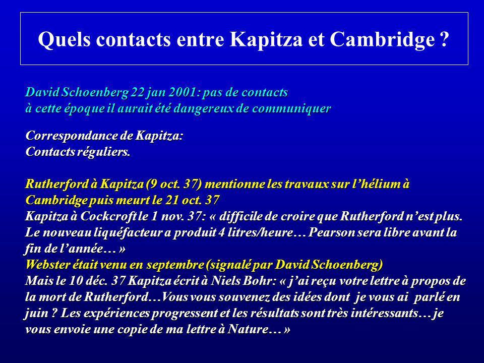 Quels contacts entre Kapitza et Cambridge ? David Schoenberg 22 jan 2001: pas de contacts à cette époque il aurait été dangereux de communiquer Corres
