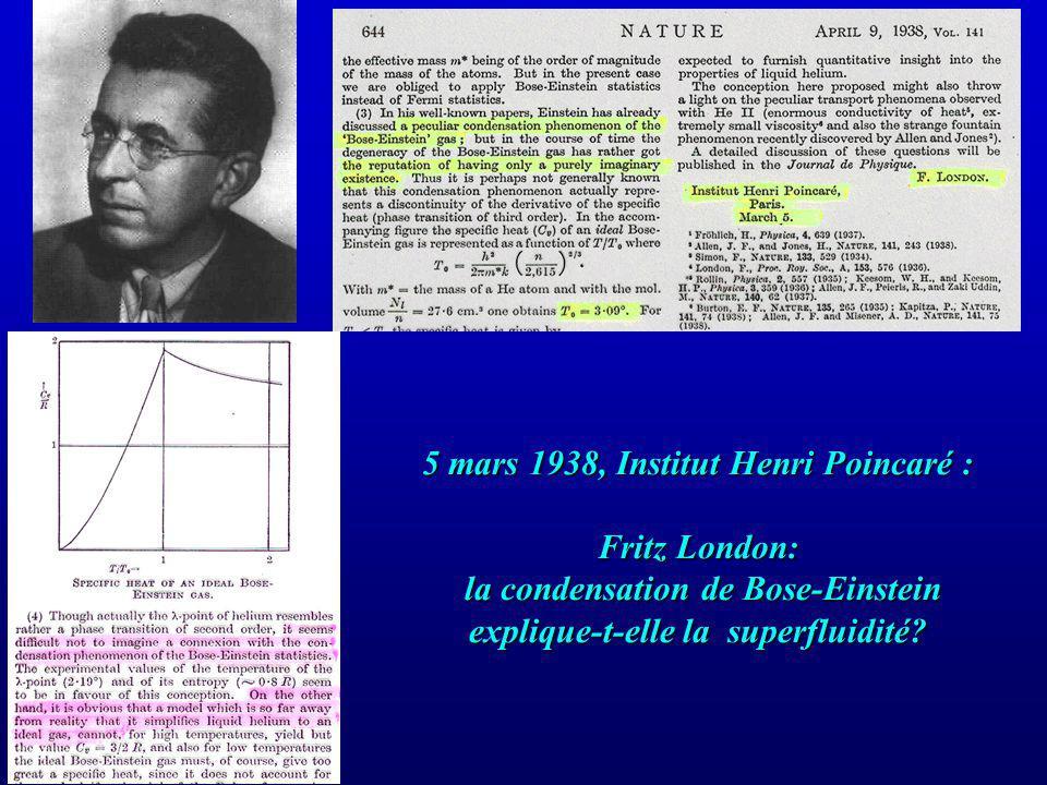 5 mars 1938, Institut Henri Poincaré : Fritz London: la condensation de Bose-Einstein explique-t-elle la superfluidité?