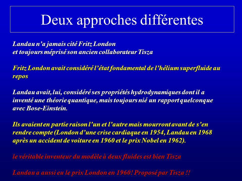 Deux approches différentes Landau na jamais cité Fritz London et toujours méprisé son ancien collaborateur Tisza Fritz London avait considéré létat fo