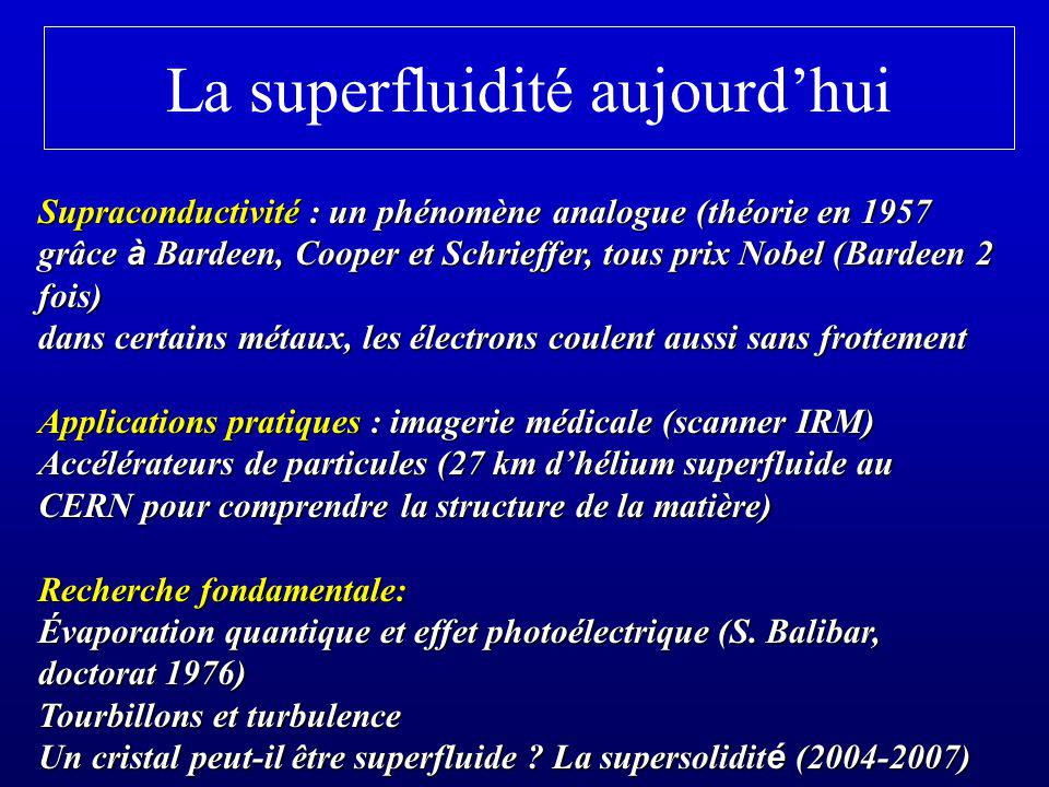La superfluidité aujourdhui Supraconductivité : un phénomène analogue (théorie en 1957 grâce à Bardeen, Cooper et Schrieffer, tous prix Nobel (Bardeen