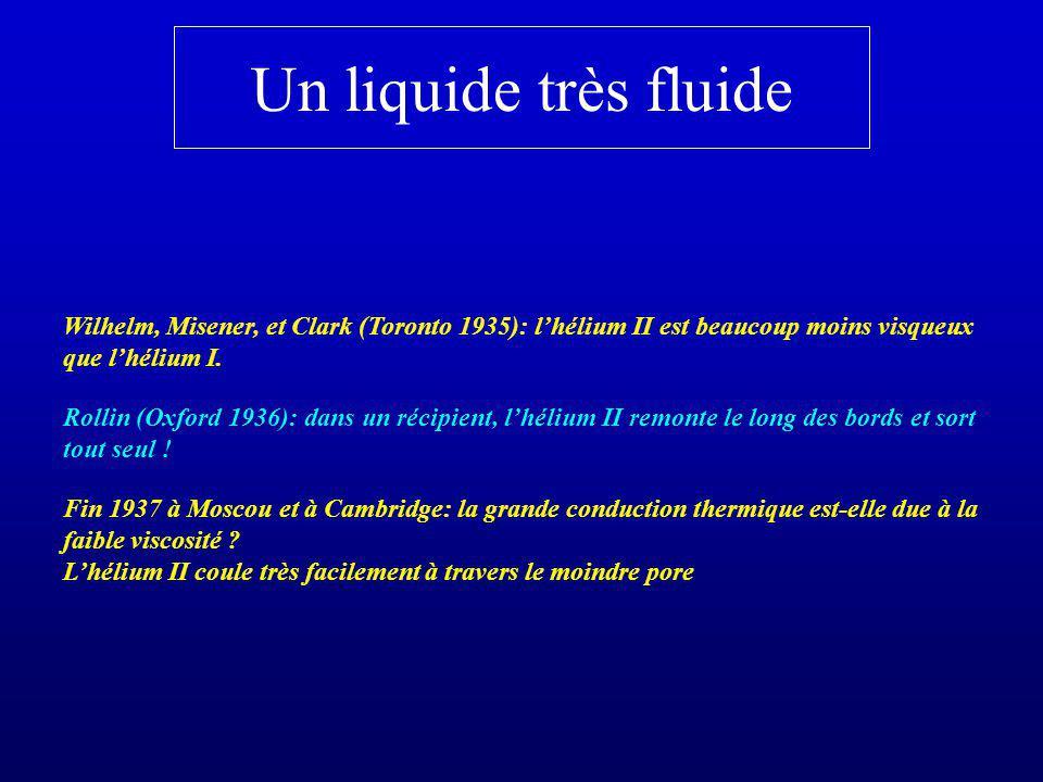 Un liquide très fluide Wilhelm, Misener, et Clark (Toronto 1935): lhélium II est beaucoup moins visqueux que lhélium I. Fin 1937 à Moscou et à Cambrid