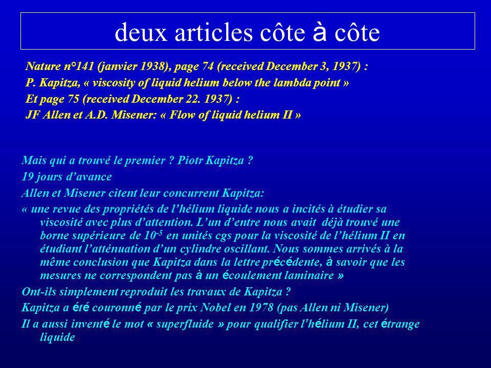 deux articles côte à côte Nature n°141 (janvier 1938), page 74 (received December 3, 1937) : P. Kapitza, « viscosity of liquid helium below the lambda