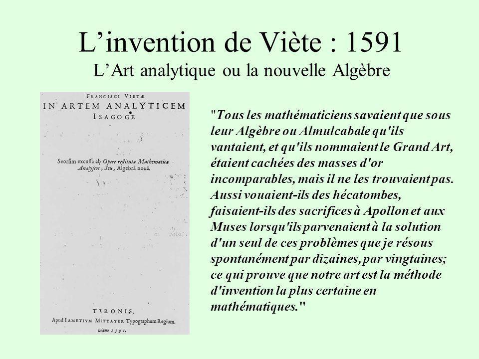 Linvention de Viète : 1591 LArt analytique ou la nouvelle Algèbre Tous les mathématiciens savaient que sous leur Algèbre ou Almulcabale qu ils vantaient, et qu ils nommaient le Grand Art, étaient cachées des masses d or incomparables, mais il ne les trouvaient pas.