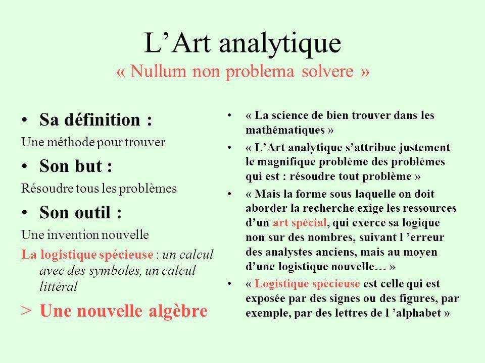 LArt analytique « Nullum non problema solvere » Sa définition : Une méthode pour trouver Son but : Résoudre tous les problèmes Son outil : Une inventi