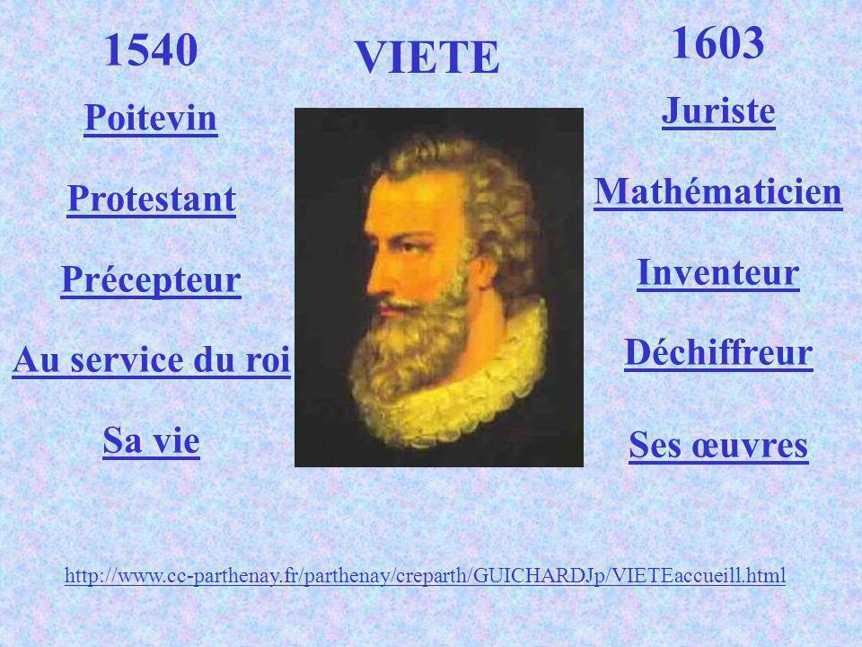1540 Poitevin Protestant Précepteur Au service du roi Sa vie 1603 Juriste Mathématicien Inventeur Déchiffreur Ses œuvres VIETE http://www.cc-parthenay.fr/parthenay/creparth/GUICHARDJp/VIETEaccueill.html