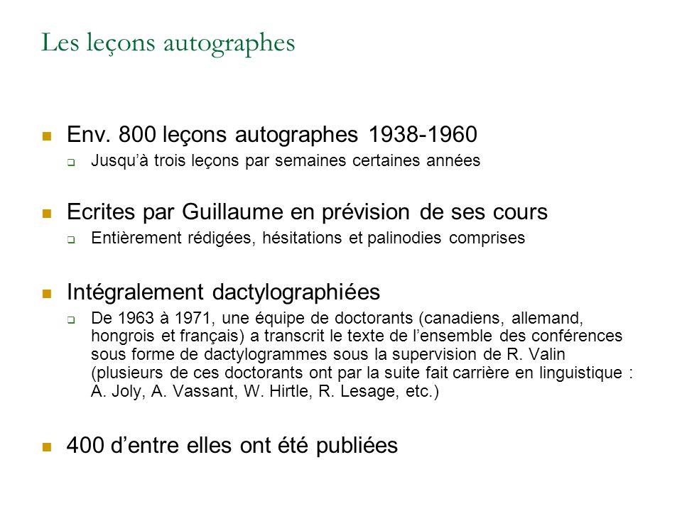 Les leçons autographes Env.