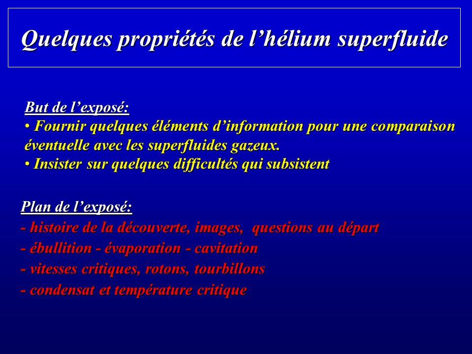 deux états liquides différents Keesom (Leiden, 1928-32): la chaleur spécifique présente une singularité en forme de « » à la chaleur spécifique présente une singularité en forme de « » à T = 2.17 K (le « point lambda ») Lhelium est pur et simple et présente pourtant deux états liquides différents: lhelium I à T > T et lhelium II à T T et lhelium II à T < T
