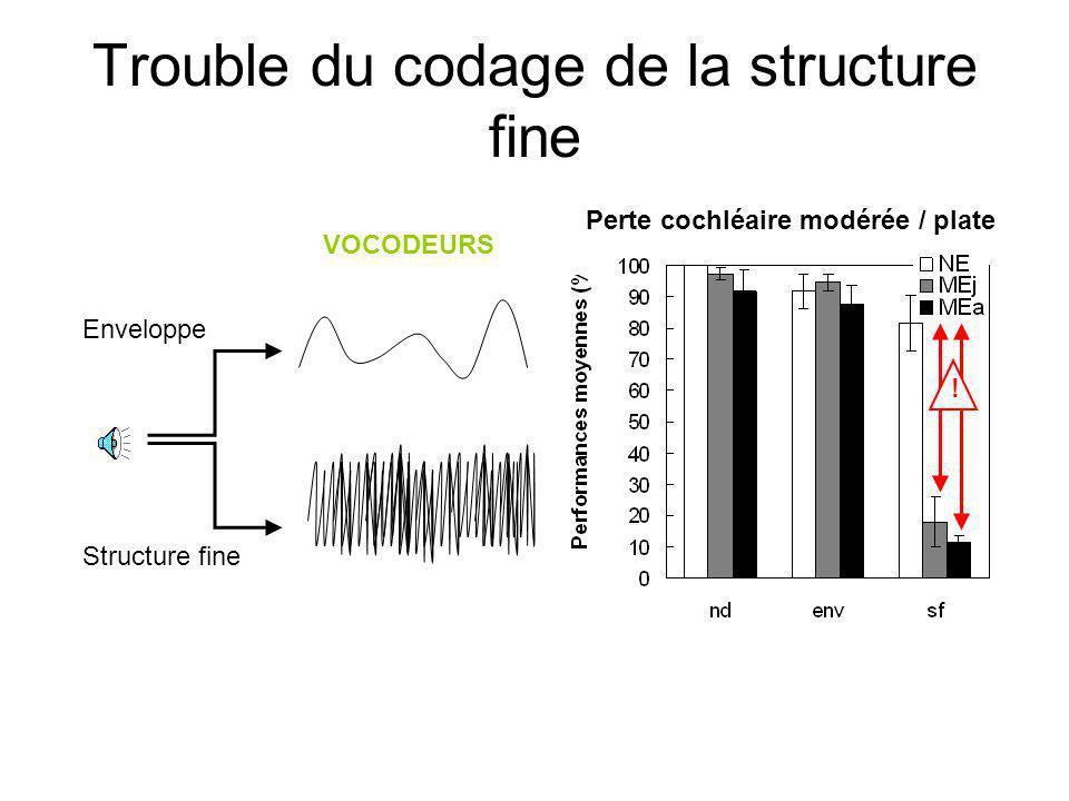Trouble du codage de la structure fine VOCODEURS Enveloppe Structure fine .