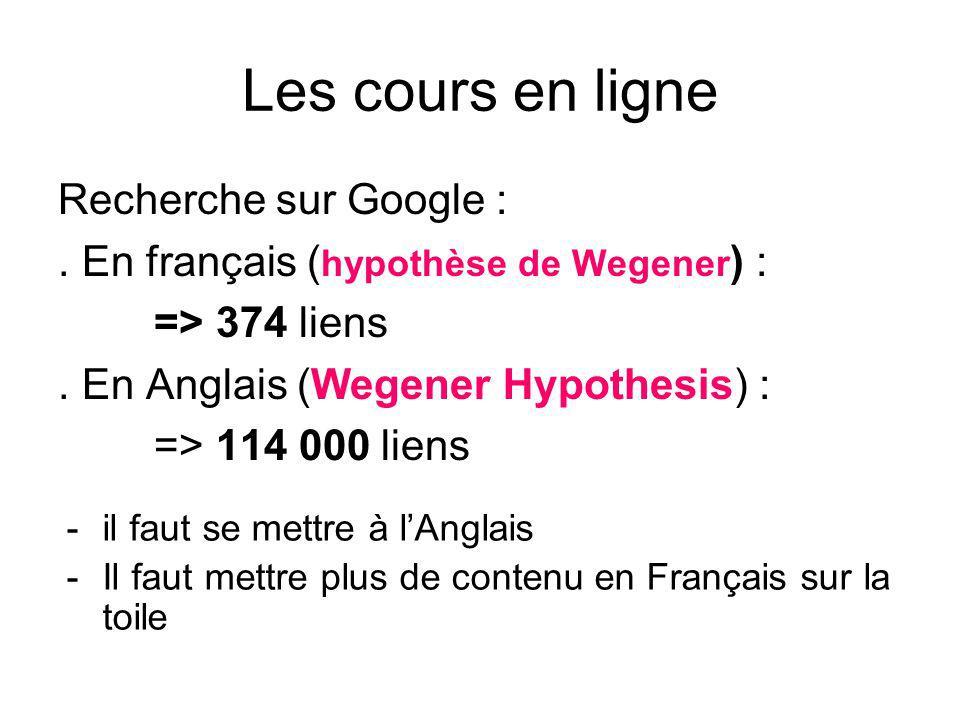 Les cours en ligne Recherche sur Google :.En français ( hypothèse de Wegener ) : => 374 liens.